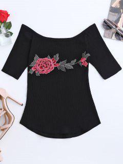 Camiseta Bordada Con Cuello De Barco Floral Bordado - Negro S