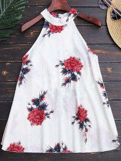 Top à Collier Ras Du Cou Imprimé De Motif  Floral - Blanc L