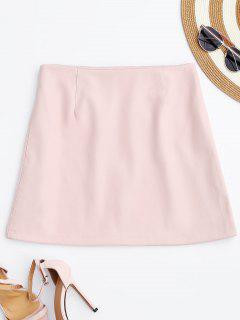 PU Leather Zip Up A-Line Skirt - Pink L