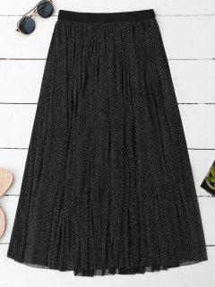 Midi Glitter Mesh Skirt - Black Xl