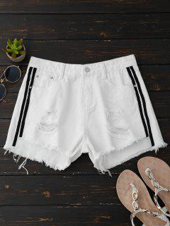Ripped Denim Shorts With Side Stripes - White Xl