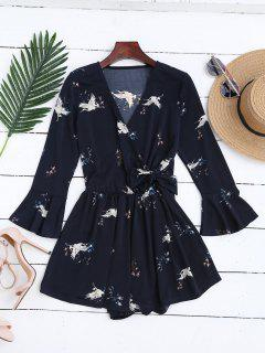 Surplice Floral Flare Sleeve Romper - Purplish Blue M