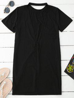Backless T-Shirt Dress - Black Xl