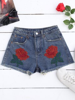 Cutoffs Embroidered Denim Shorts - Denim Blue S