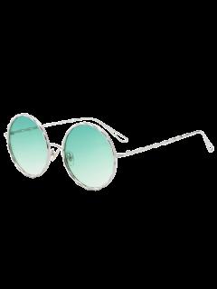 Wavy Metallic Frame Leg Ombre Round Sunglasses - Green