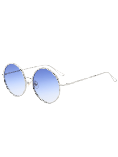 Wavy Metallic Frame Leg Ombre Round Sunglasses - Light Blue