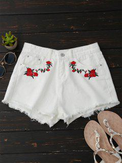 Frayed Floral Embroidered Cutoffs - White L