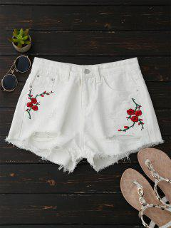 Embroidered Flower Ripped Hot Denim Shorts - White M