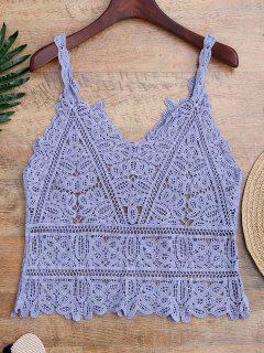 Hollow Out Crochet Cami Cubrir - Azul Claro