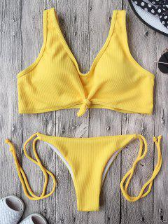 Bikini Bralette Con Cordones Con Nudos - Amarillo M