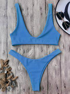 High Cut Scoop Bikini Set - Blue M