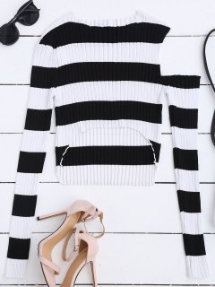High Low Cold Shoulder Striped Knitwear - White And Black M