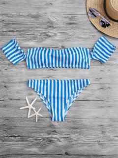 Padded Off The Shoulder Bikini Set - Blue And White S