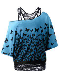 T-Shirt à Motif Papillon à Encolure Cloutée Dos Coureux - Pers L
