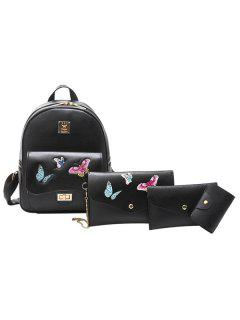 4 Pieces Butterfly Embroidered Backpack Set - Black