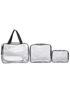 3 Pieces Transparent Toiletry Bag - Black