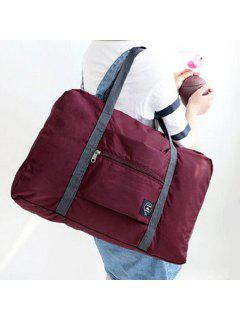 Waterproof Foldable Nylon Carryall Bag - Wine Red