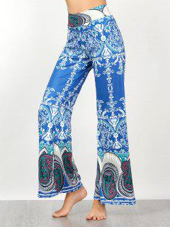 Vintage High Waisted Paisley Print Palazzo Pants - Blue M