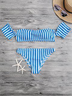 Padded Off The Shoulder Bikini Set - Blue And White M