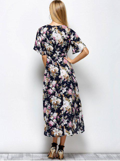 lady Front Slit Floral Maxi Surplice Dress - FLORAL S Mobile