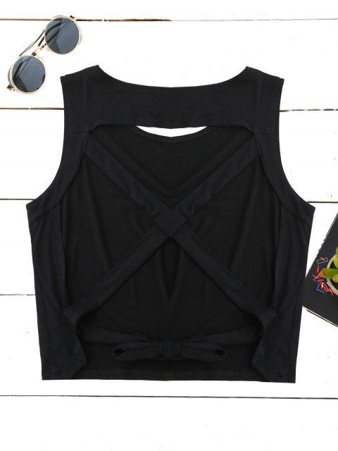 women's Crossover Backless Tank Top - BLACK M Mobile