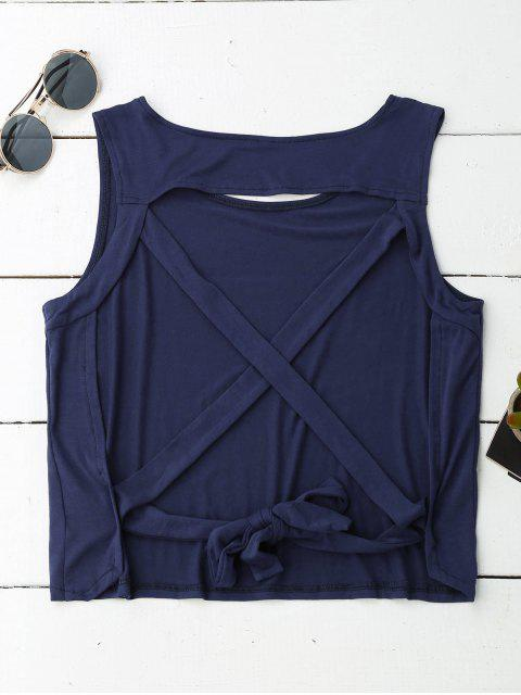 outfits Crossover Backless Tank Top - CADETBLUE L Mobile