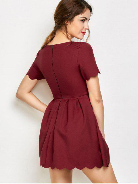 outfits Ruched Scalloped A-Line Dress - RED XL Mobile