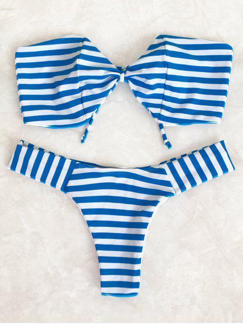 shop Striped Bow Bandeau Bikini Set - BLUE AND WHITE S Mobile