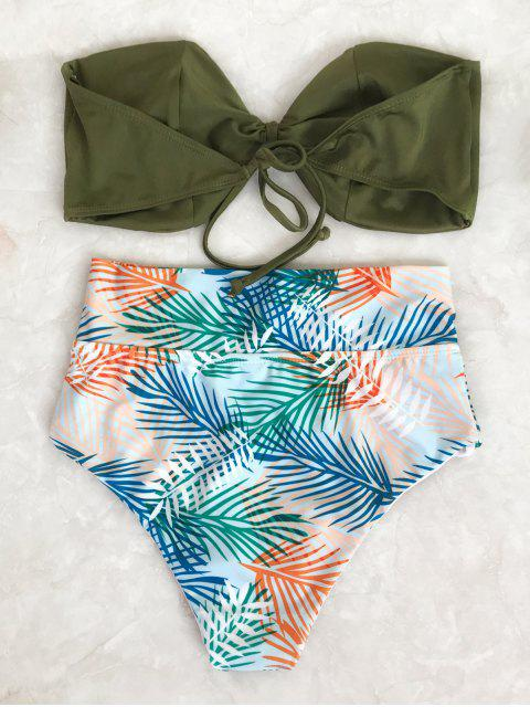 trendy Tropical Bandeau High Waisted Bikini Set - LEAF M Mobile