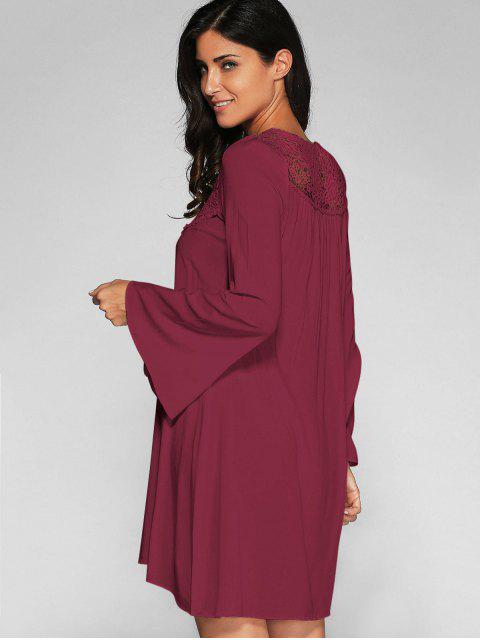 chic Flare Sleeve Trapeze Dress - WINE RED XL Mobile
