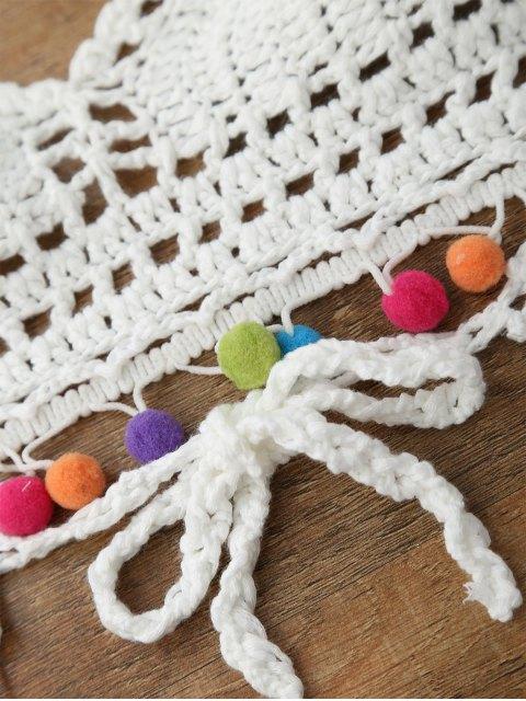 outfits Bralette Pom Crochet Bikini Top - WHITE ONE SIZE Mobile