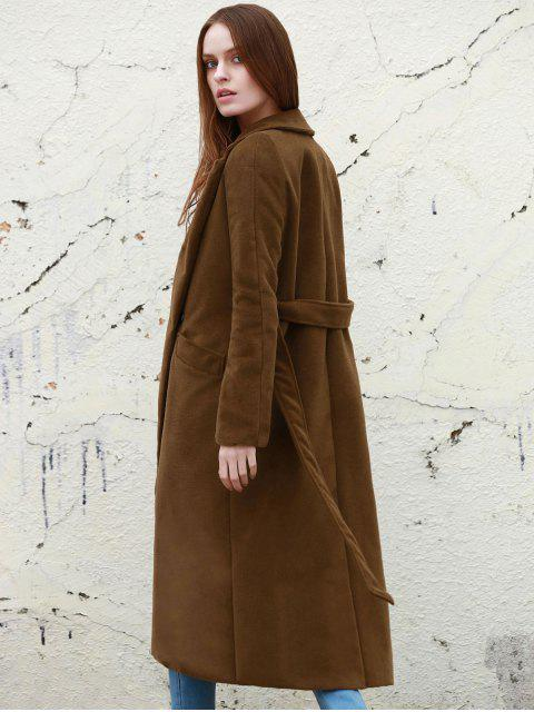 womens Lapel Solid Color Long Overcoat - CAMEL L Mobile