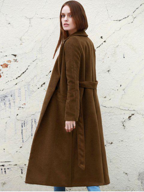 Manteau Long à Col Tailleur en Couleur Solide - Camel L Mobile