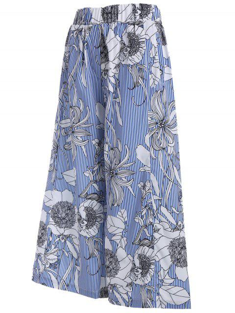 hot Floral Stripes Wide Leg Pants - COLORMIX M Mobile