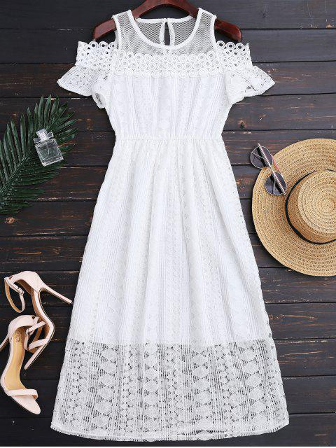 trendy Cold Shoulder Midi Crochet Lace Dress - WHITE M Mobile