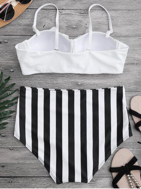 binkini à taille haiye à volants à bretelles - Blanc S Mobile