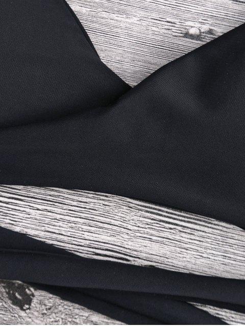 womens Padded Tiny Flower Wrap Bikini Set - BLACK S Mobile