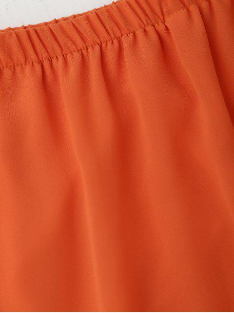 lady Tied Sleeve Off Shoulder Chiffon Dress - ORANGE S Mobile