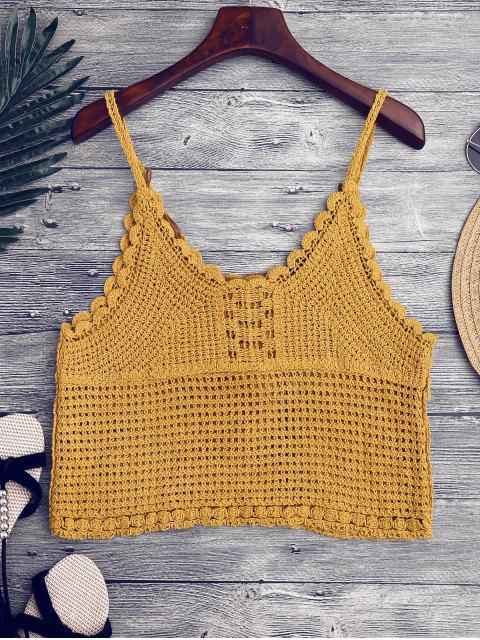 shops Crochet Cami Cover Up with Feather - GINGER ONE SIZE Mobile