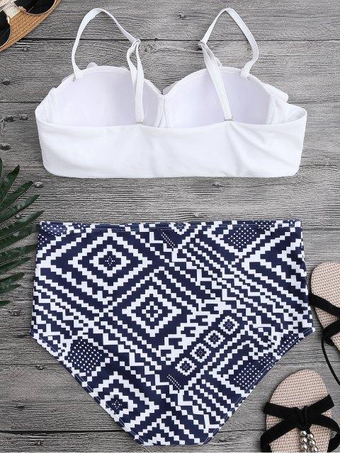 Bikini avec armature et falbalas à taille haute - Blanc S Mobile
