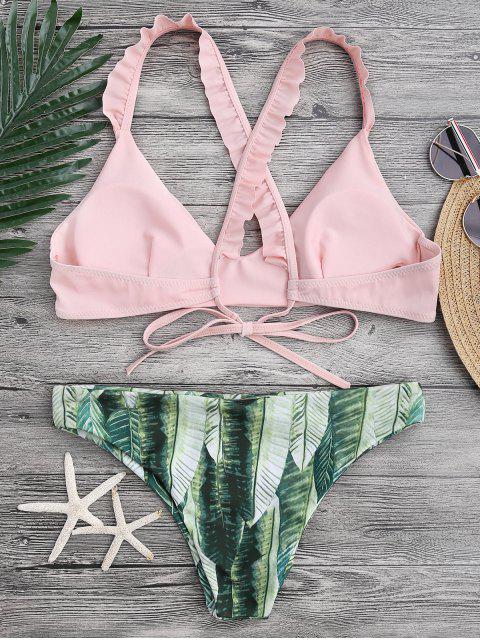 ladies Ruffled Bikini Top and Tropical Bottoms - PINK S Mobile