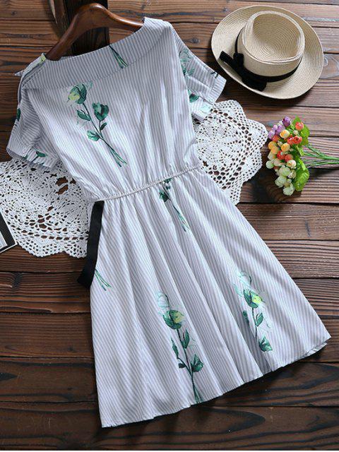 Robe à rayures florales avec ceinture - Bleu clair L Mobile