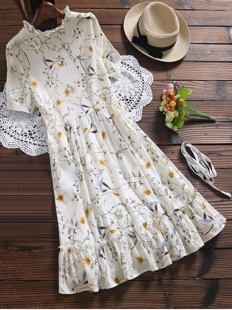 lady Ruffle Hem Oversized Floral Dress - WHITE M Mobile