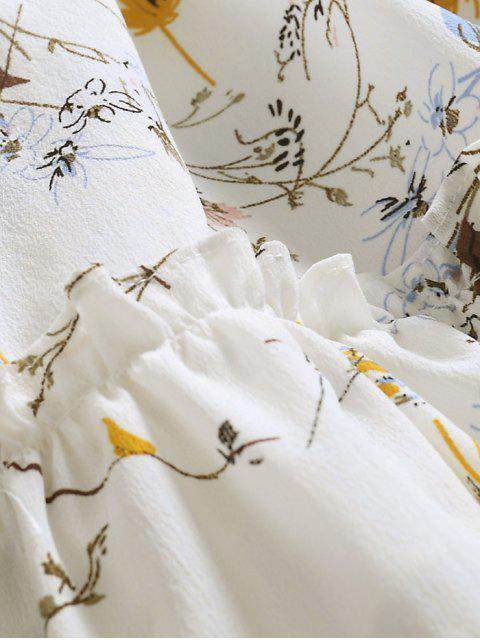 online Ruffle Hem Oversized Floral Dress - WHITE XL Mobile