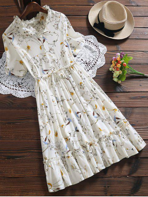 online Ruffle Hem Oversized Floral Dress - WHITE XL Mobile