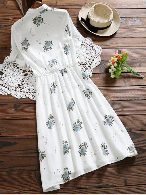 Robe Tshirt boutonnée imprimée floral - Blanc 2XL Mobile
