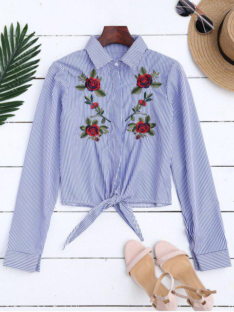 chic Floral Embroidered Tied Striped Shirt - STRIPE S Mobile