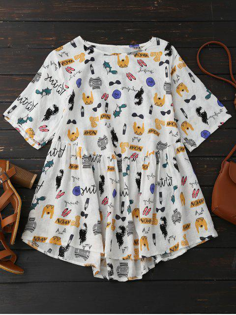 Top blouse à motif de cartoon - Multicolore 2XL Mobile