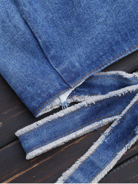 buy Bowknot Criss Cross Denim Crop Top - DENIM BLUE S Mobile