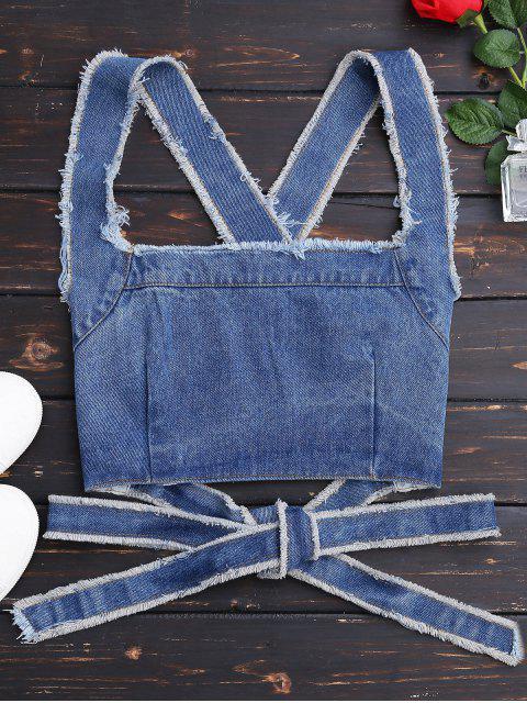 women Bowknot Criss Cross Denim Crop Top - DENIM BLUE L Mobile